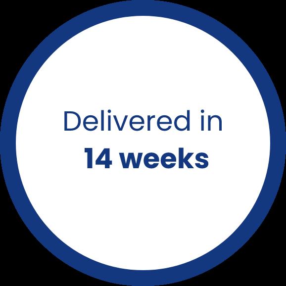 Delivered in 14 weeks